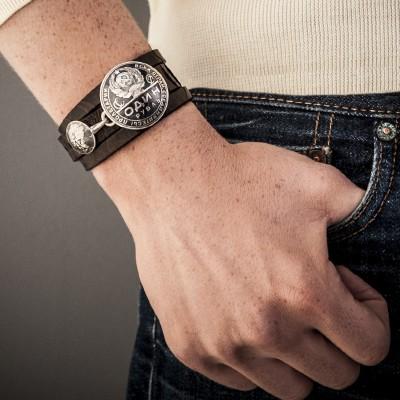 VINTAGE rouble exotic leather AJ357 BRACELET