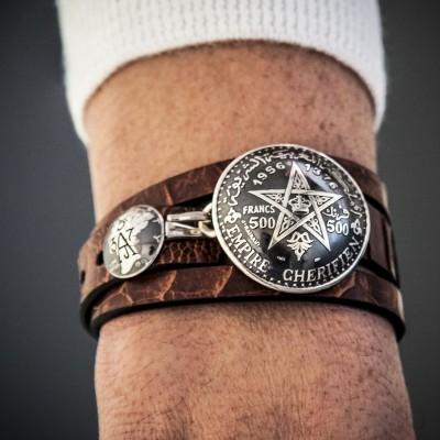 VINTAGE CHERIFIEN STAR 500 FRANCS OSTRICH LEATHER AJ357 BRACELET