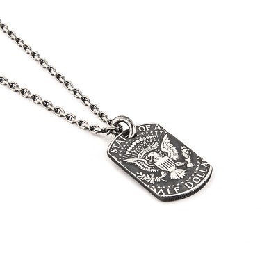 EAGLE ONE NECKLACE COIN KENNEDY AMERICAN STERLING SILVER