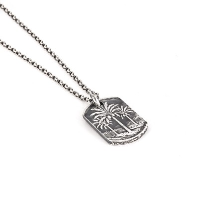 PALMTREE NECKLACE COIN ADVENTURE IRAQI STERLING SILVER