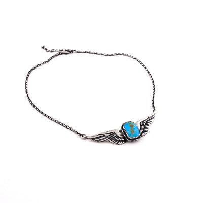 TURQUOISE WINGED NECKLACE AJ357 STERLING SILVER WINGS WOMEN