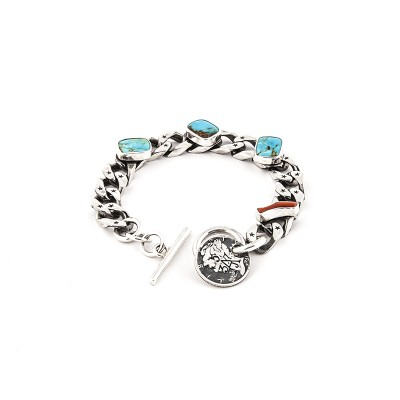 silver gourmette link bracelet turquoise red coral AJ357