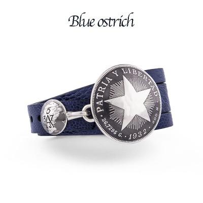 VINTAGE CUBAN PESO STAR  OSTRIcH LEATHER AJ357 BRACELET
